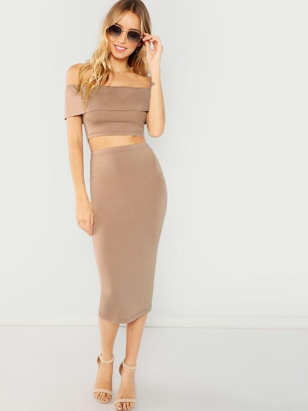 d7f2b029e9f3 Bandeau Off Shoulder Crop Top   Bodycon Skirt Set