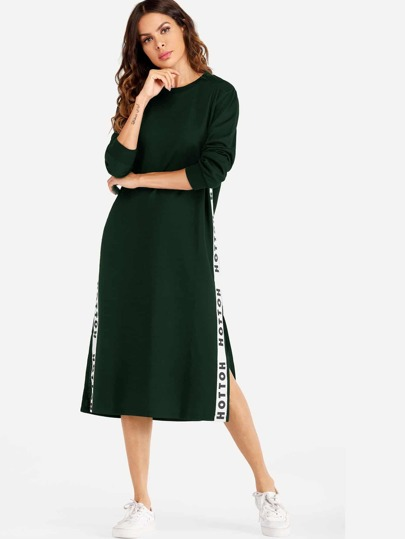 Letter Tape Side Split Sweatshirt Dress