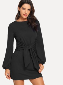Knot Waist Solid Dress