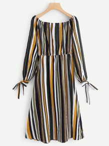 Knot Detail Cuff Striped Dress