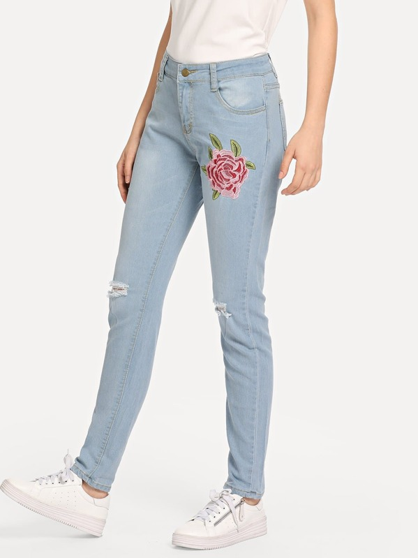 a78da0043d Floral Embroidered Jeans