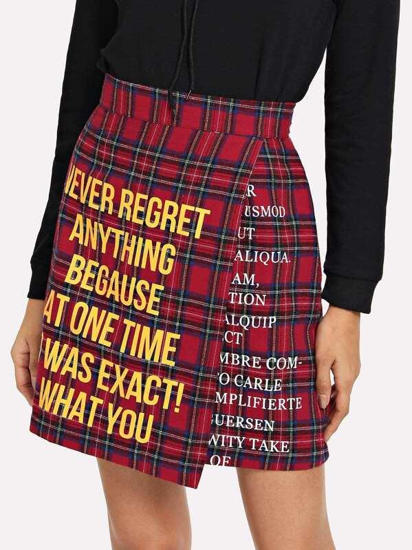 af66ba4a64 Cheap Letter Print Plaid Skirt for sale Australia | SHEIN