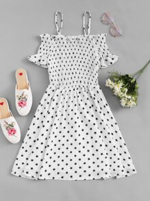 Star Print Ruched Dress