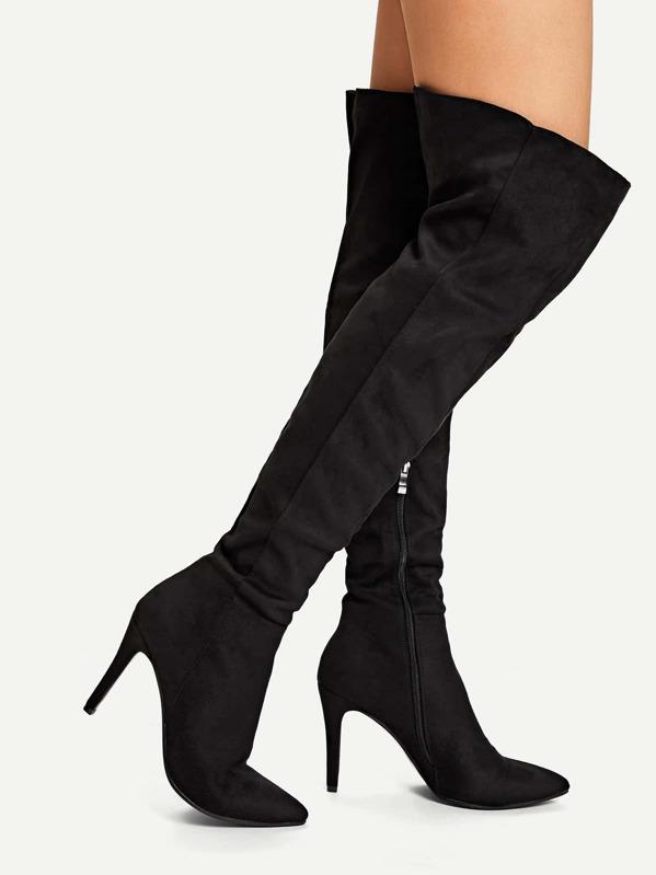 7fbb92340b Point Toe Thigh High Suede Boots | SHEIN