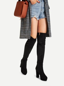 Platform Block Heeled Thigh High Boots