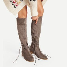 Lace-Up Detail Knee High Boots