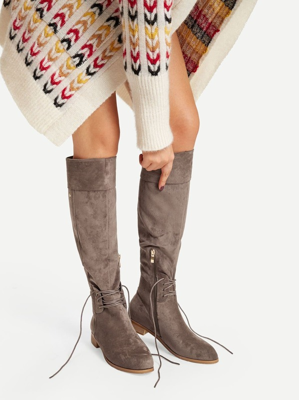 fine craftsmanship hot-selling professional big discount Lace-Up Detail Knee High Boots
