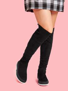 Lace-up Back Flat Boots