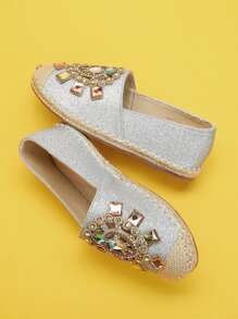 Rhinestone Decorated Glitter Flats