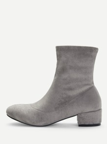 Plain Block Heeled Boots