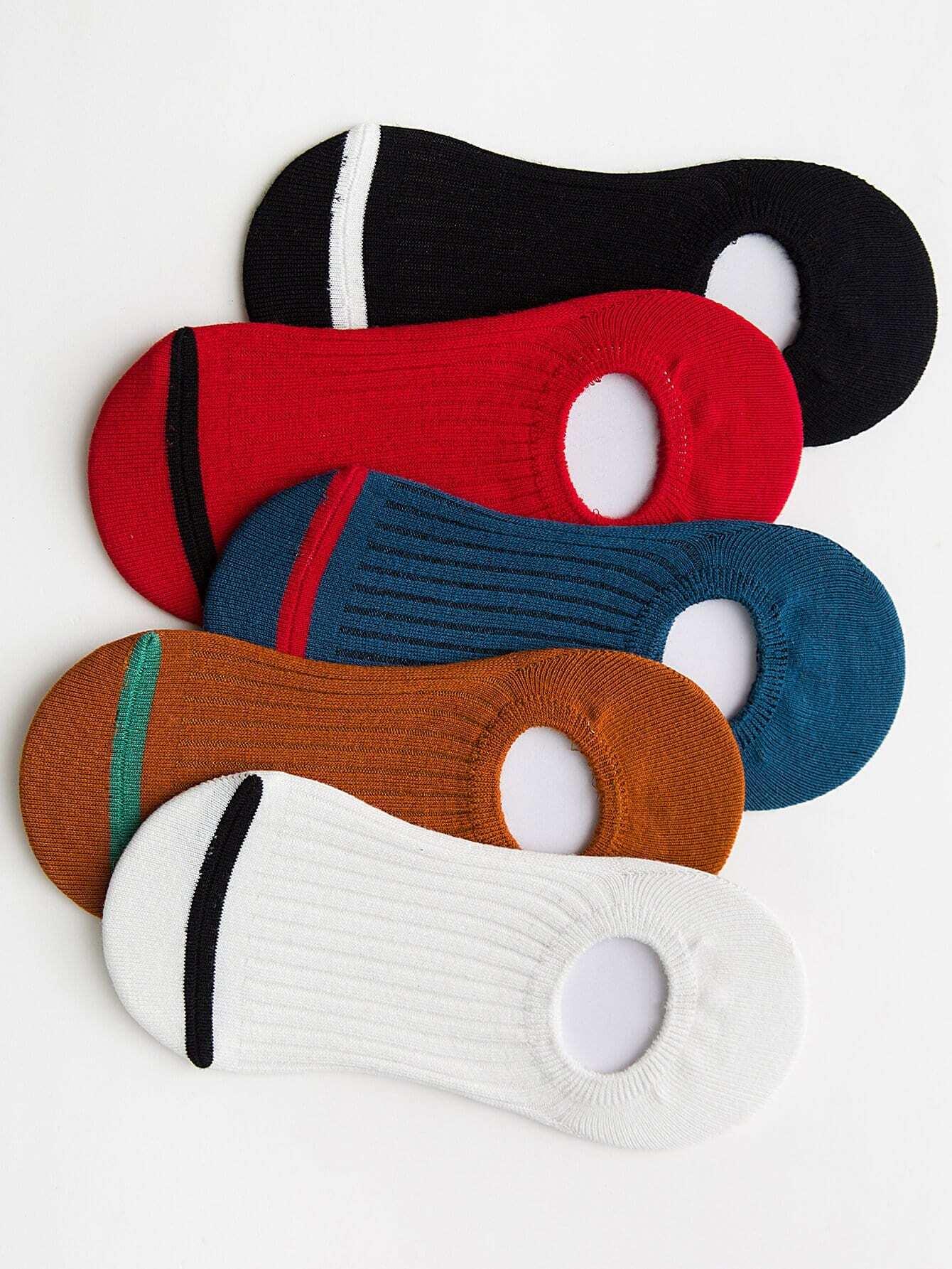 Men Random Color Plain Socks 5pairs