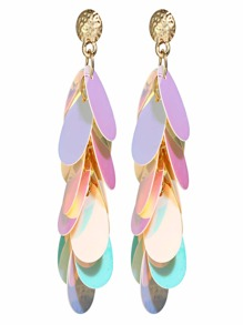 Iridescence Sequin Decorated Drop Earrings 1pair