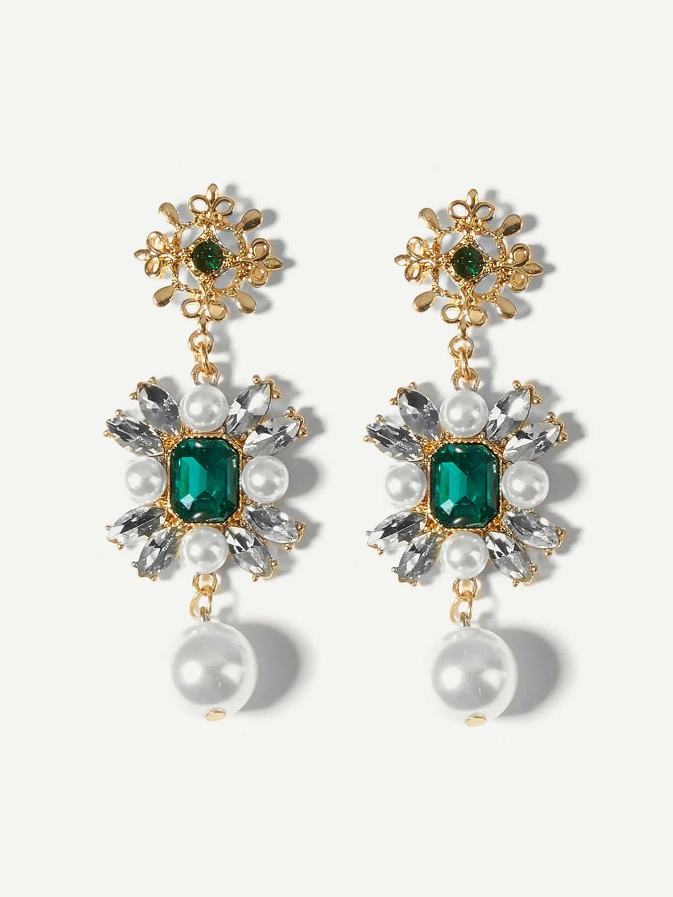 Faux Pearl & Gemstone Flower Drop Earrings SheIn Sheinside