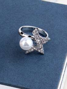 Faux Pearl & Star Ring