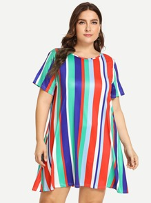 Plus Round Neck Striped Swing Dress