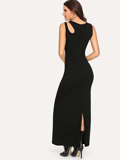 c2eab6fbdb0 Asymmetrical Cut Out Shoulder Tee Dress