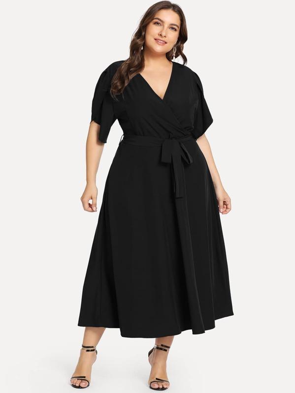 c028972595 Cheap Plus Petal Sleeve Surplice Wrap Dress for sale Australia | SHEIN