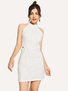 Halterneck Eyelet Embroidered Dress