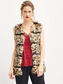 Soft Faux Fur Leopard Print Shell Coat