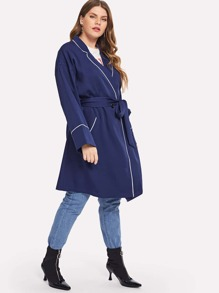 Plus Contrast Tipping Notched Collar Coat