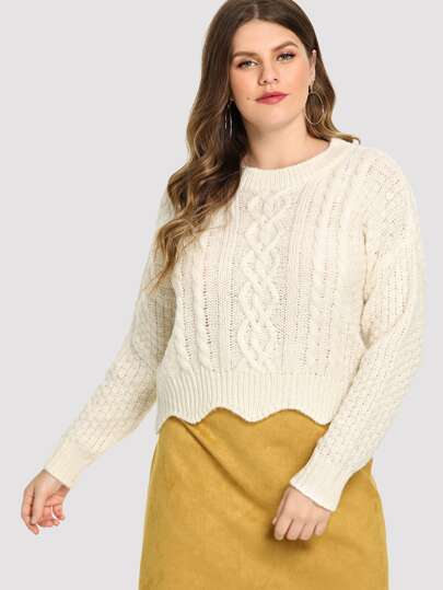 Plus Cable Knit Scalloped Sweater