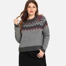 Plus Round Neck Geo Print Sweater