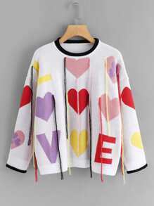 Plus Letter And Heart Print Sweater