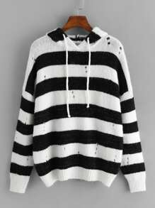 Plus Drawstring Striped Hoodie Jumper