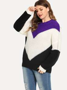 Plus Color Block Tunic Jumper