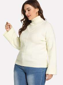 Plus High Neck Solid Jumper
