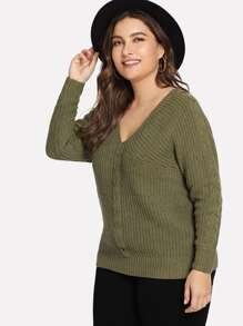 Plus V-Neck Solid Jumper
