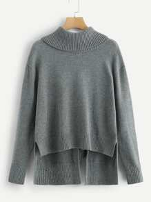 Dip Hem High Neck Solid Jumper