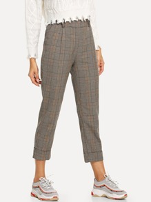 Plaid Roll Up Pants