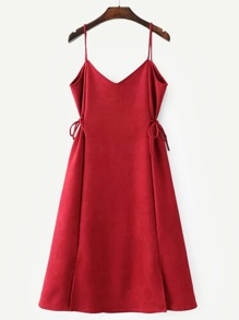 Tie Detail Slit Hem Cami Dress
