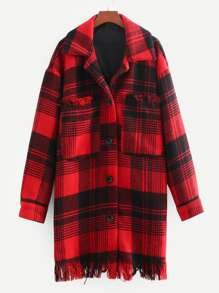 Tartan Plaid Fringe Trim Tweed Coat