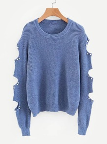 Cut Out Sleeve Pearl Detail Jumper