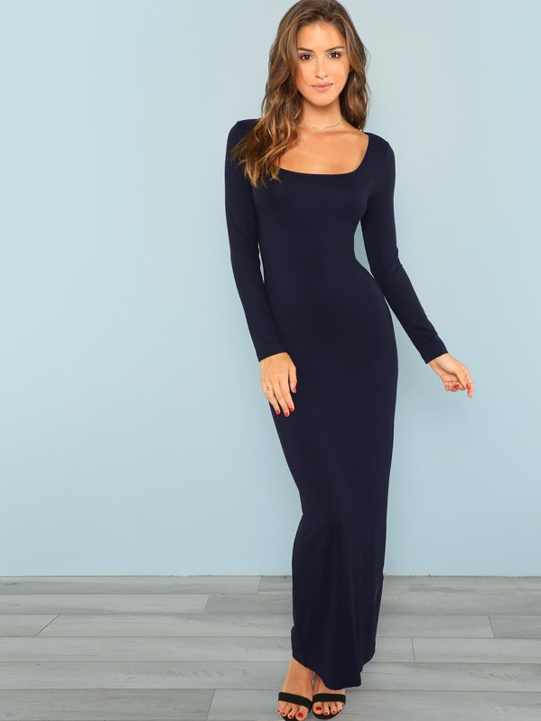 868065a6f9 Square Neck Fitted Maxi Dress | SHEIN UK