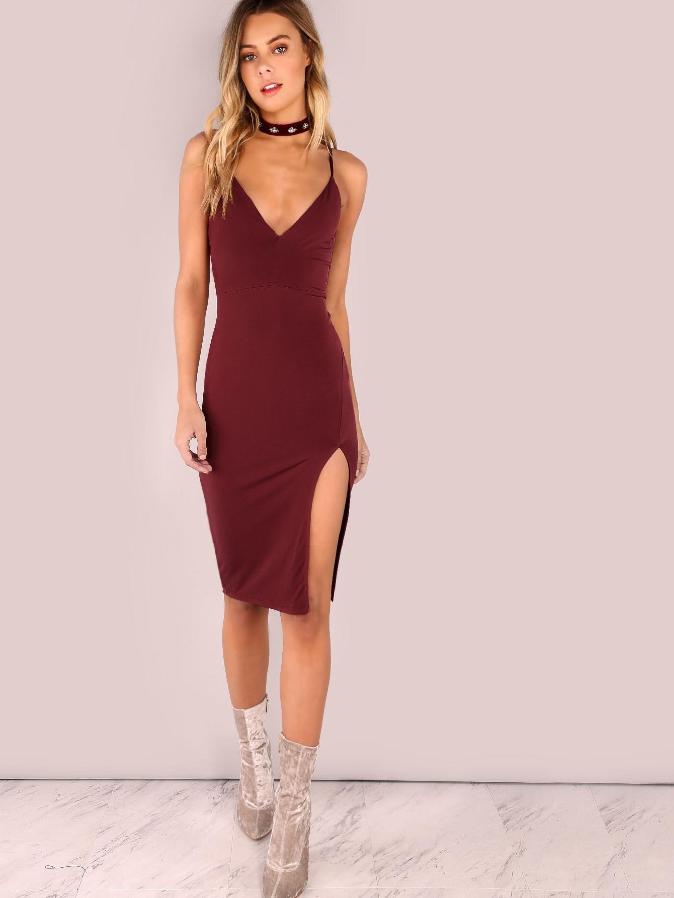 Slit Front Cami Pencil Dress Slit Front Cami Pencil Dress
