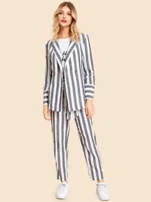 Notch Collar Striped Blazer and Pants Set