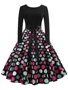 Zip Back Polka Dot Dress