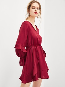 Ruffle Detail Solid Dress