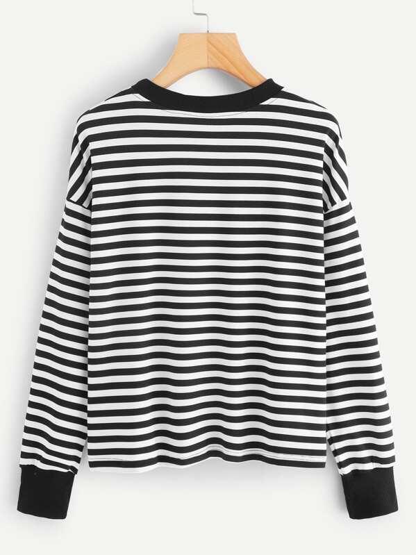 ca07e50449 Heart Embroidery Striped Tee | SHEIN