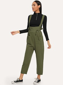 Drawstring Detail Solid Jumpsuit