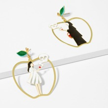 Figure Detail Open Mismatched Drop Earrings