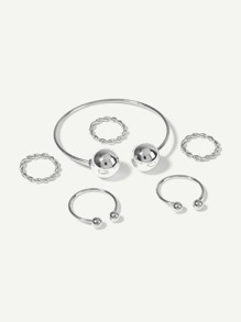 Ball Cuff Bracelet 1pc & Ring Set 5pcs