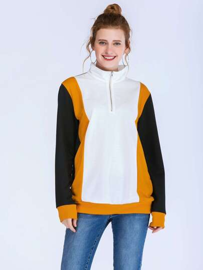 Half Placket Colorblock Sweatshirt