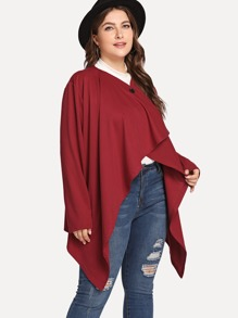 Plus Button Detail Asymmetrical Hem Coat