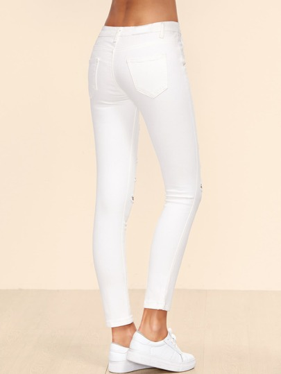 aef2fad63e2 Home · Denim · Jeans  White Ripped Ankle Jeans