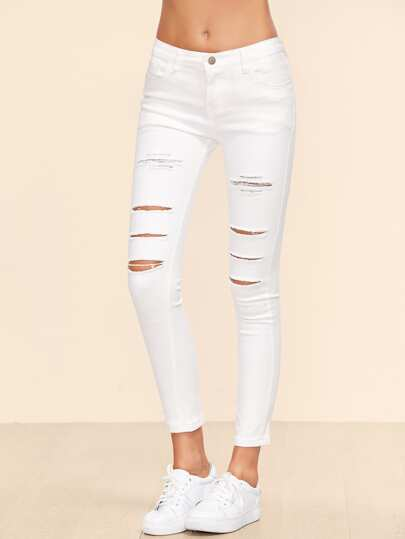 White Ripped Ankle Jeans