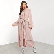Contrast Binding Tie Waist Abaya